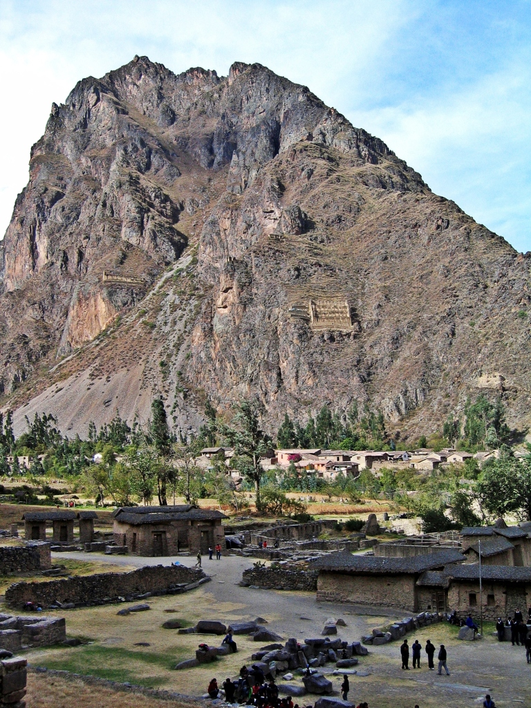 Store houses and Wiracocha god, Ollantaytambo, Peru