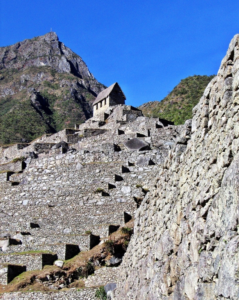 Terraces and a recreated building, Machu Picchu