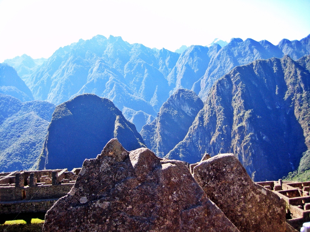 Carved stone to match mountains, Machu Picchu