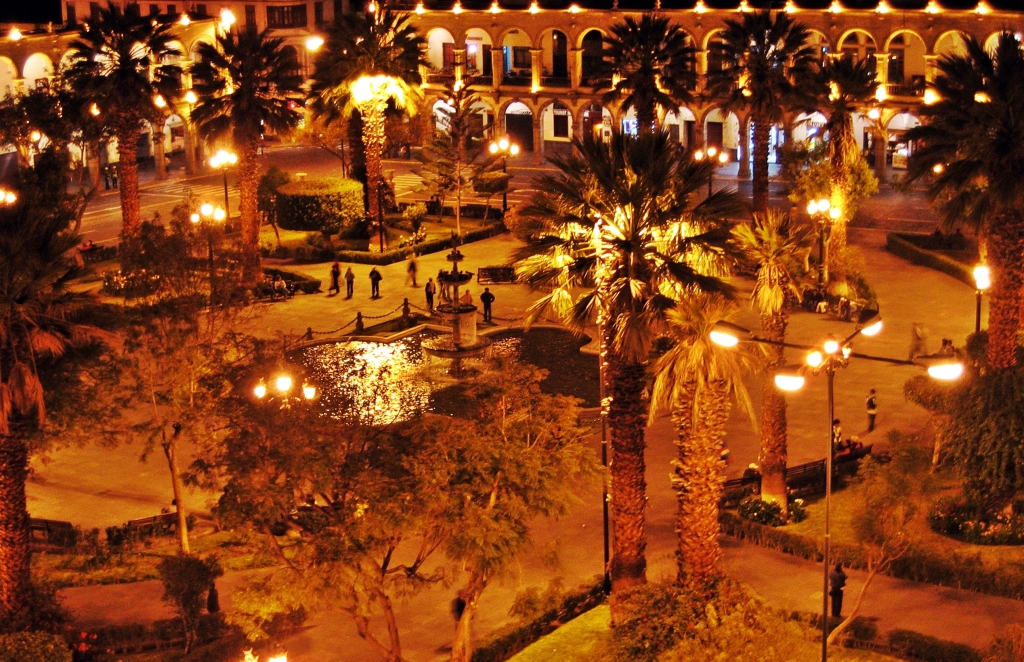 Plaza de Armas at night, Arequipa