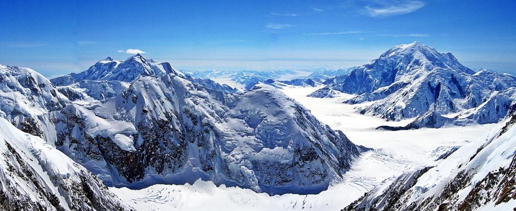 Kahiltna Glacier between Mts Hunter and Foraker