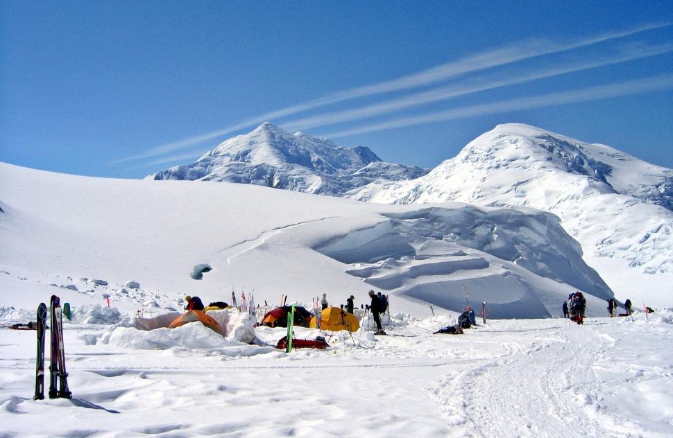 Camp 2 below Foraker and Kahiltna Dome, Denali Climb