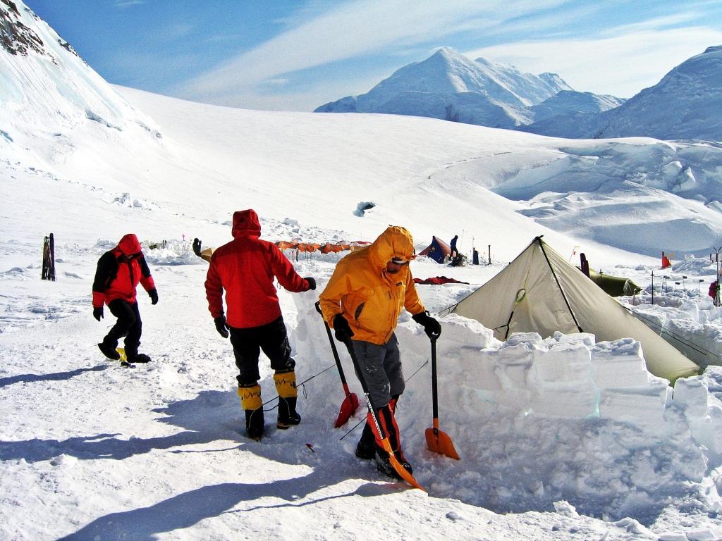 Snow wall maintenance, Camp 2, Denali Climb