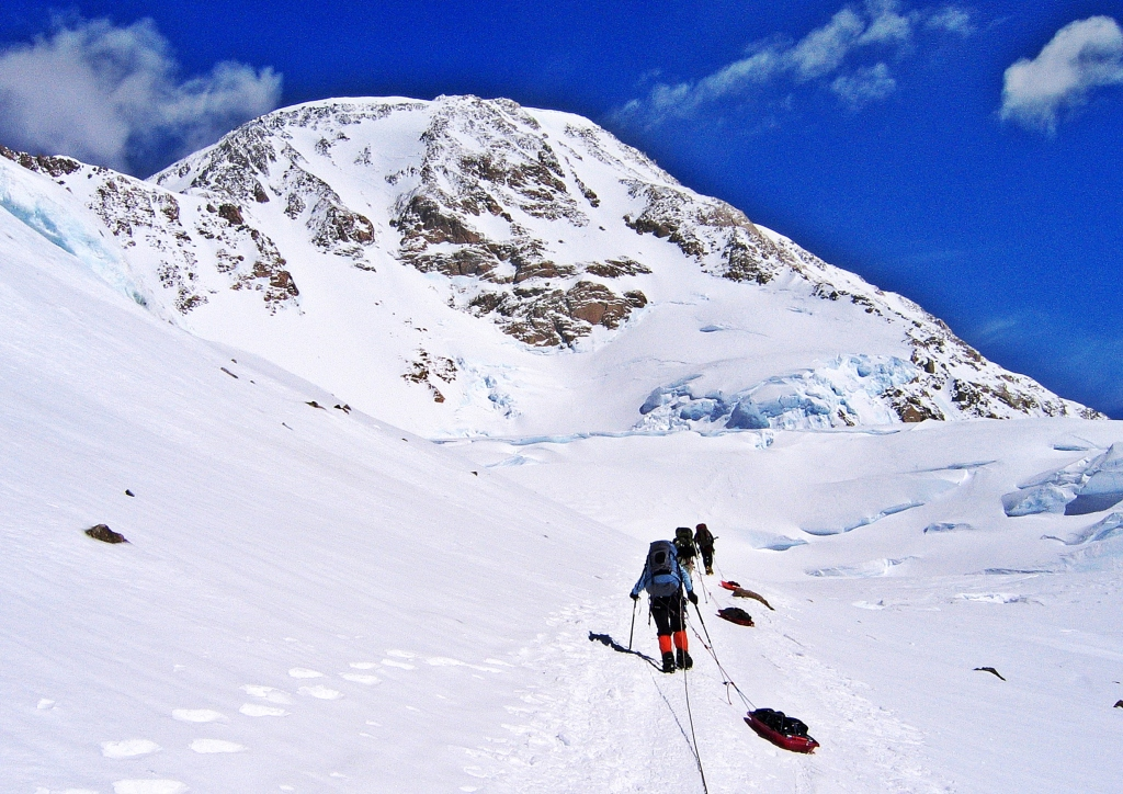 Climbing to Windy Corner with Denali's West Buttress ahead