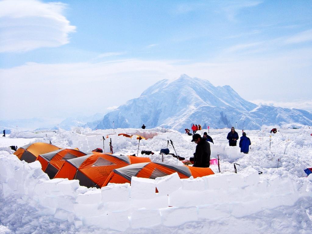 Snow block walls, Camp 3, Denali Climb