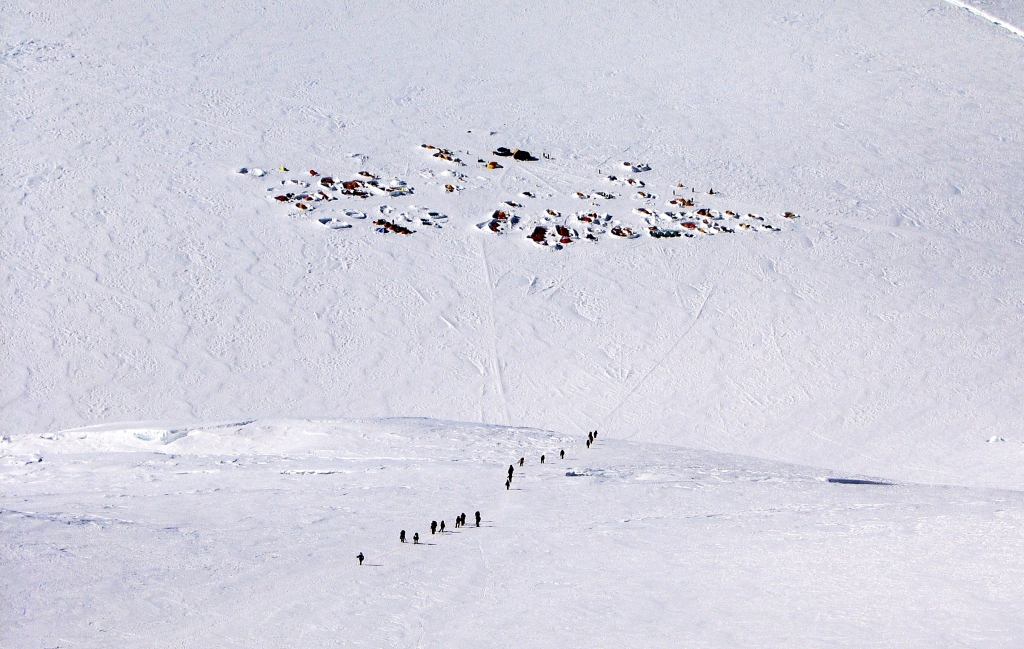 Camp 3 from above, Denali climb