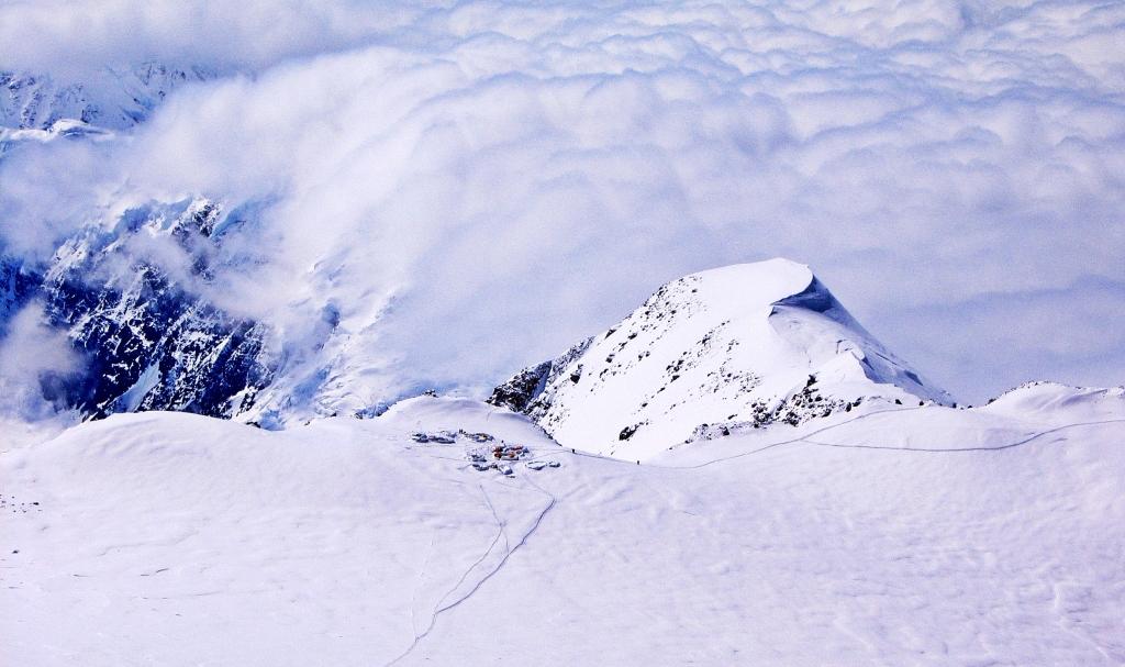 Above Camp 4 (left), Denali climb