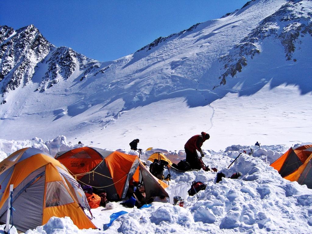 Camp 4 with Denali Pass above, Denali climb