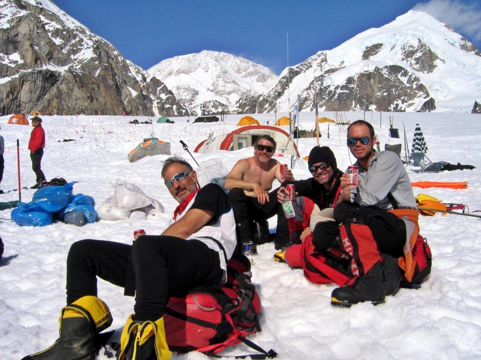Celebrating at Kahiltna Airport, Denali climb
