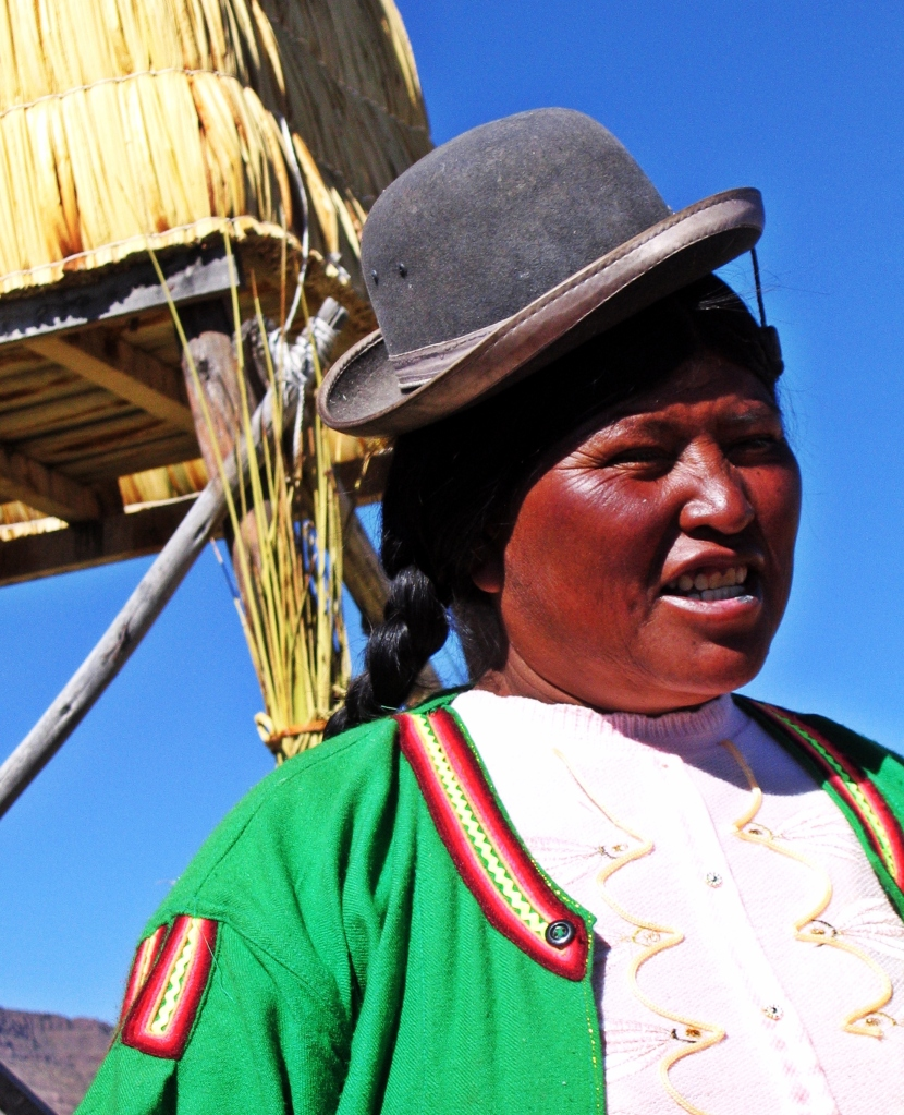 Uros villager, Floating reed island