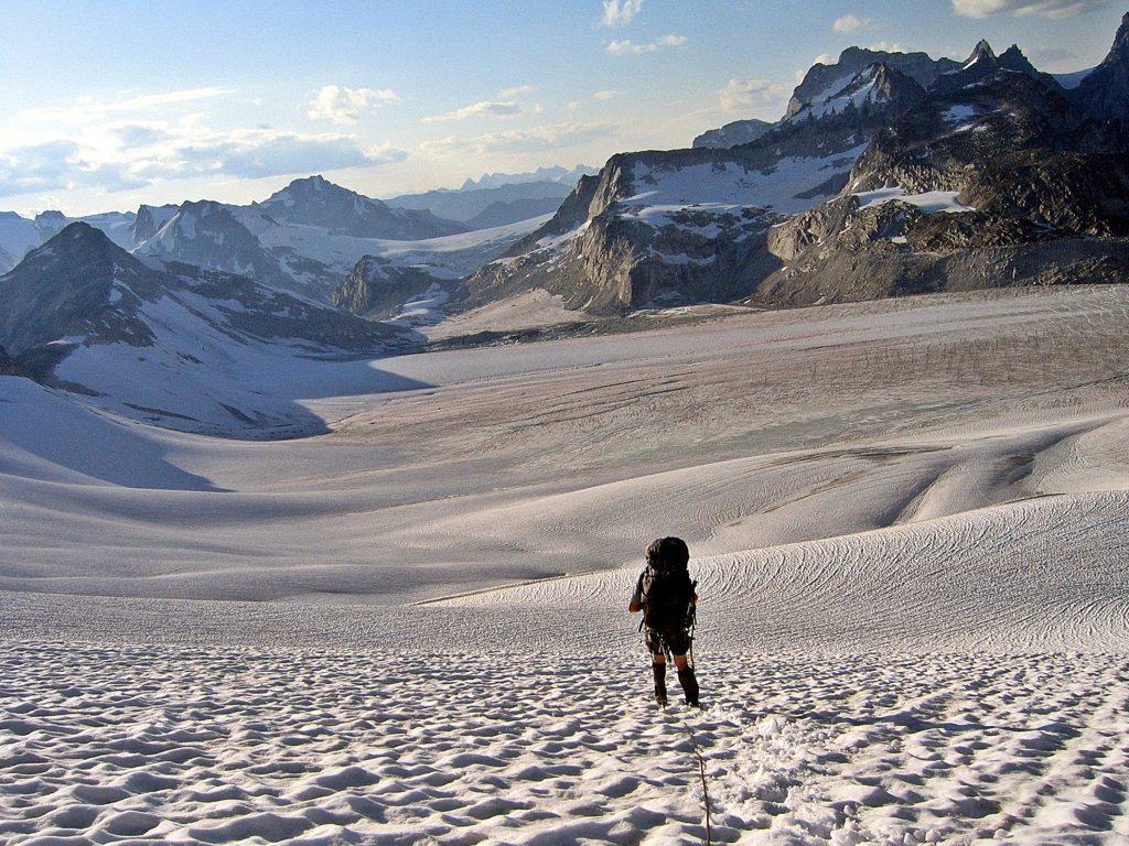 Looking west on Vowell Glacier, Bugaboos
