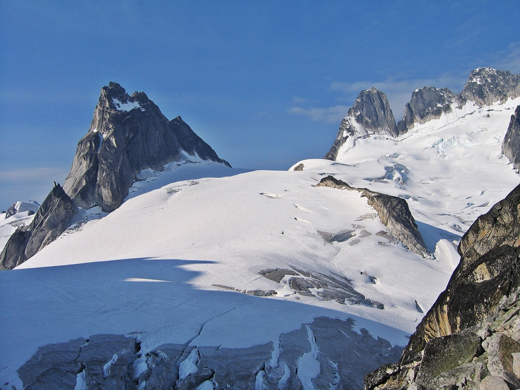 Pigeon Spire and Howser Towers from Bugaboo Spire