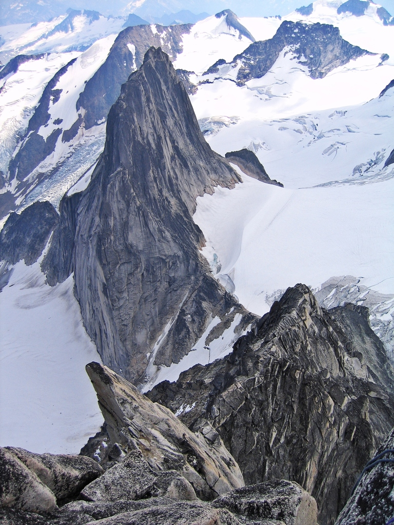 View from Bugaboo summit of Snowpatch Spire