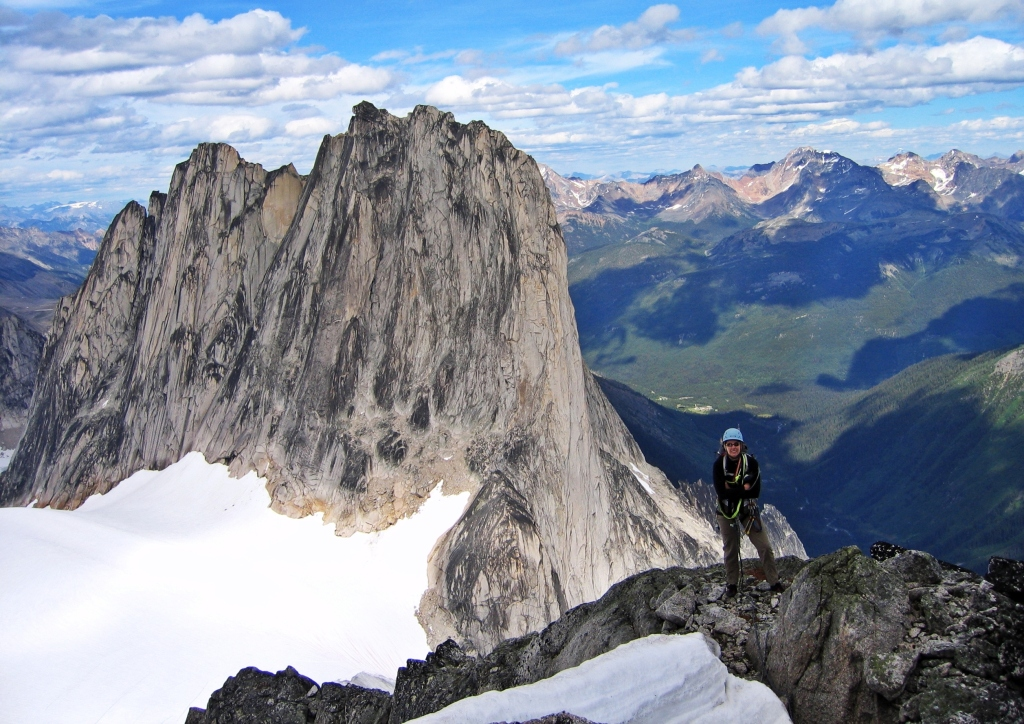 Near the summit of Pigeon Spire with Snowpatch behind, Bugaboos
