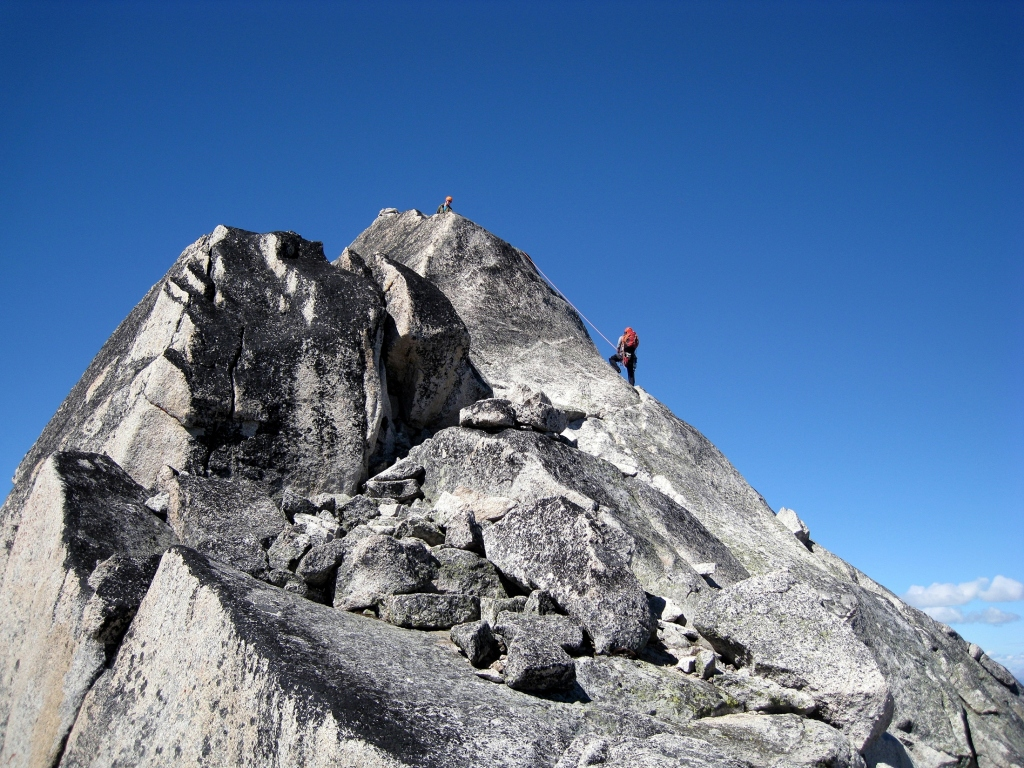 Climbing on Snowpatch, Bugaboos