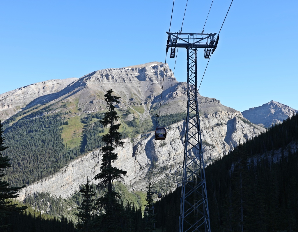 Sunshine gondola with Mount Bourgeau behind