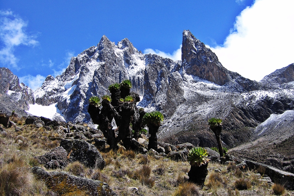 Batian and Nelion are on the left, Mount Kenya