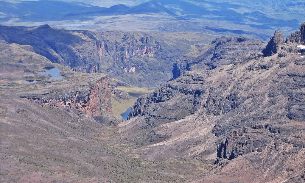 Gorges Valley from Point Lenana, Mount Kenya