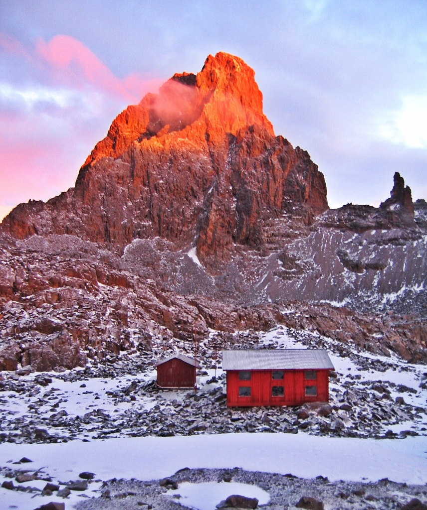 Alpenglow on Nelion, Mount Kenya