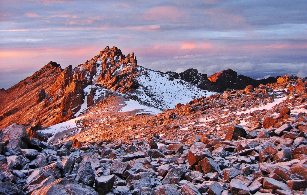 Alpenglow near Austrian Hut, Mount Kenya
