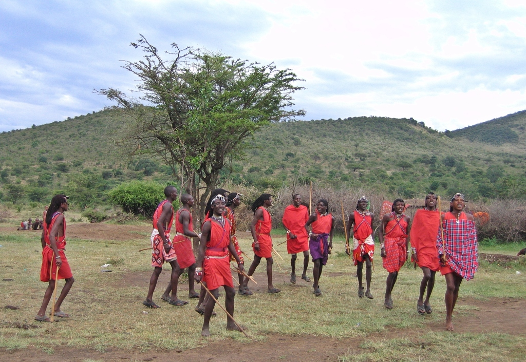 Maasai warriors, Maasai Mara National Reserve