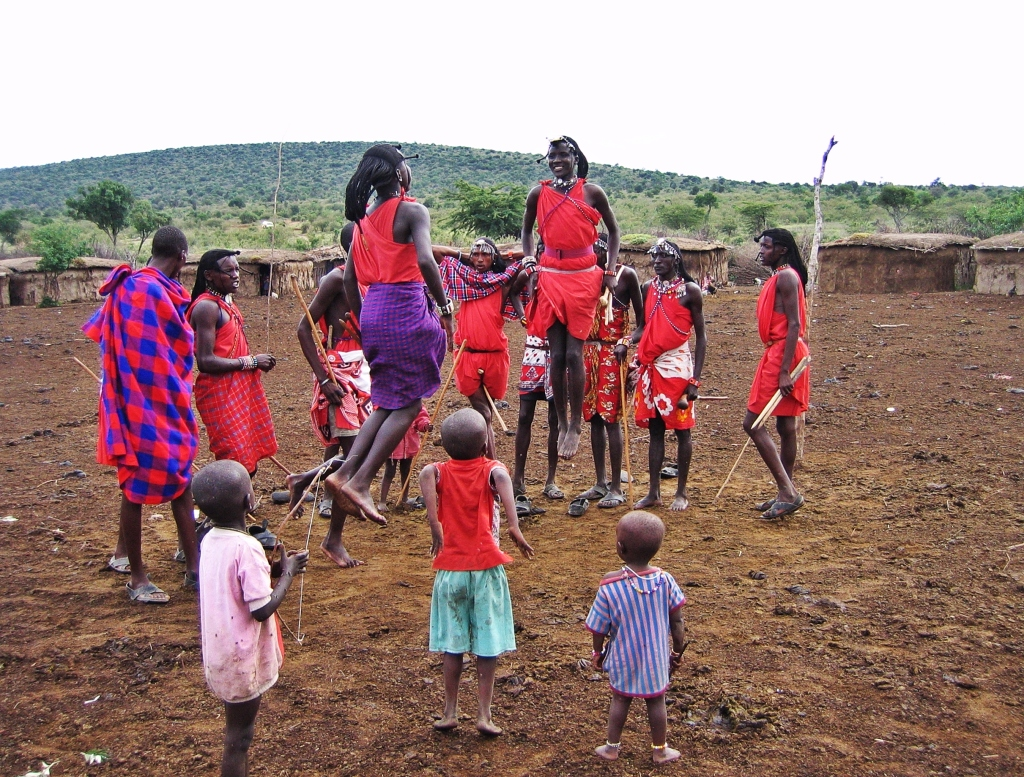 Maasai warriors in a jumping competition, Maasai Mara National Reserve