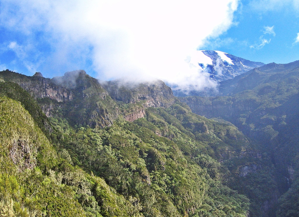 Deep ravine and Mount Kilimanjaro