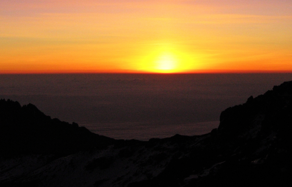 Sunrise from Kilimanjaro summit