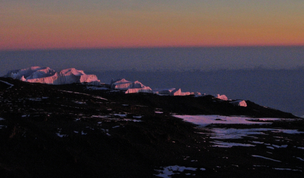 Glaciers at sunrise, Mount Kilimanjaro