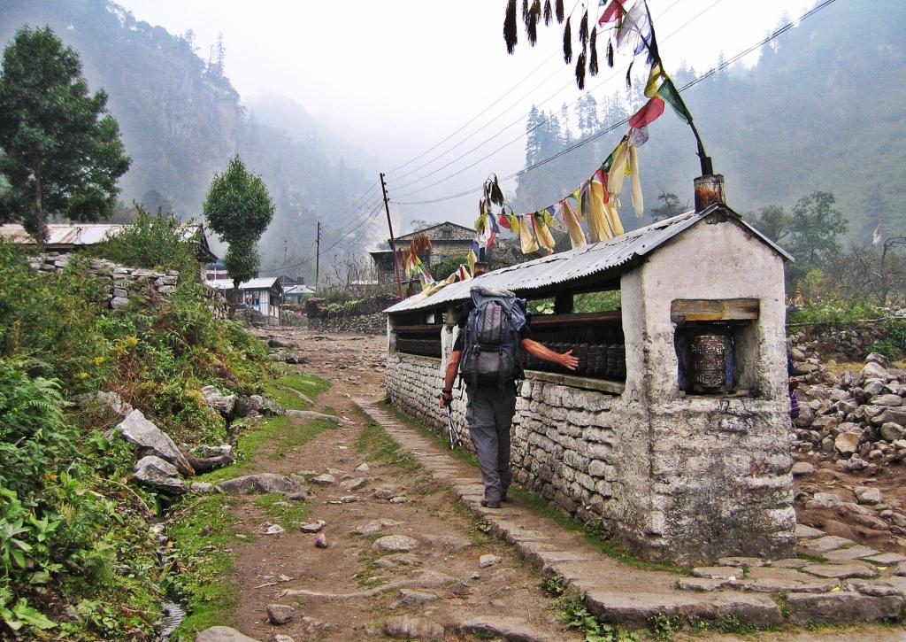 Buddhist mani wall, Bagarchhap, Annapurna Circuit Trek