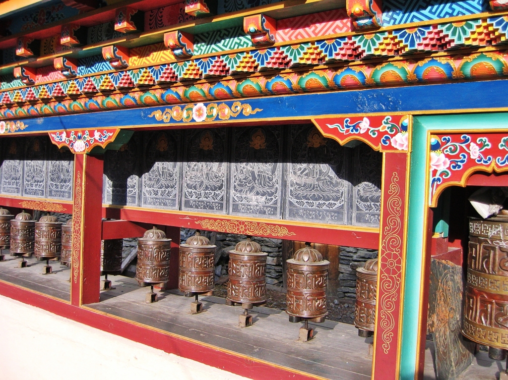 Buddhist prayer wheels, Pisang, Annapurna Circuit Route