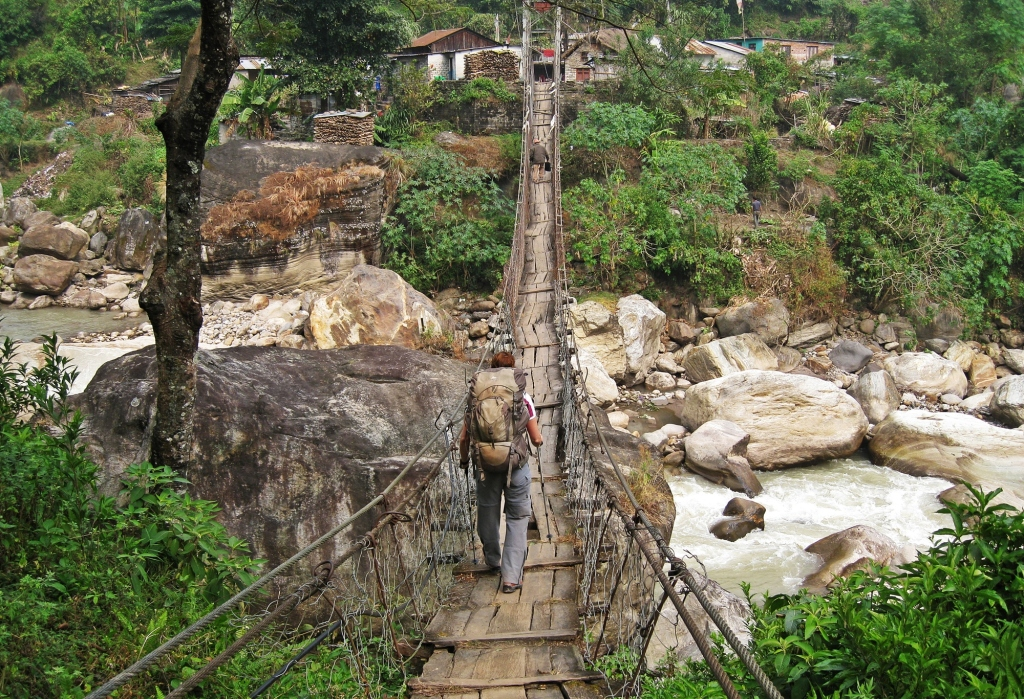 Suspension bridge, Khudi, Annapurna Circuit Trek