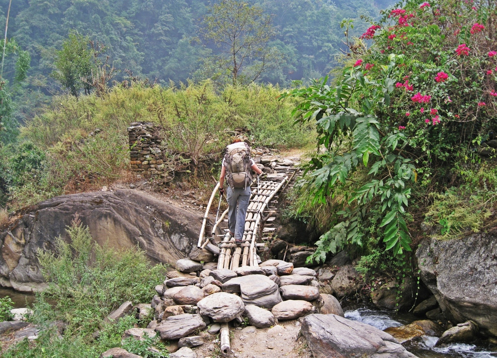 Wooden bridge, Annapurna Circuit Trek