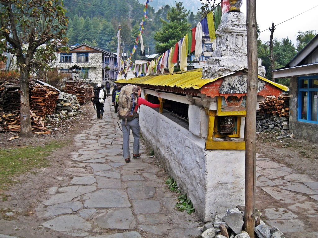 Buddhist prayer wheel, Chame, Annapurna Circuit Trek