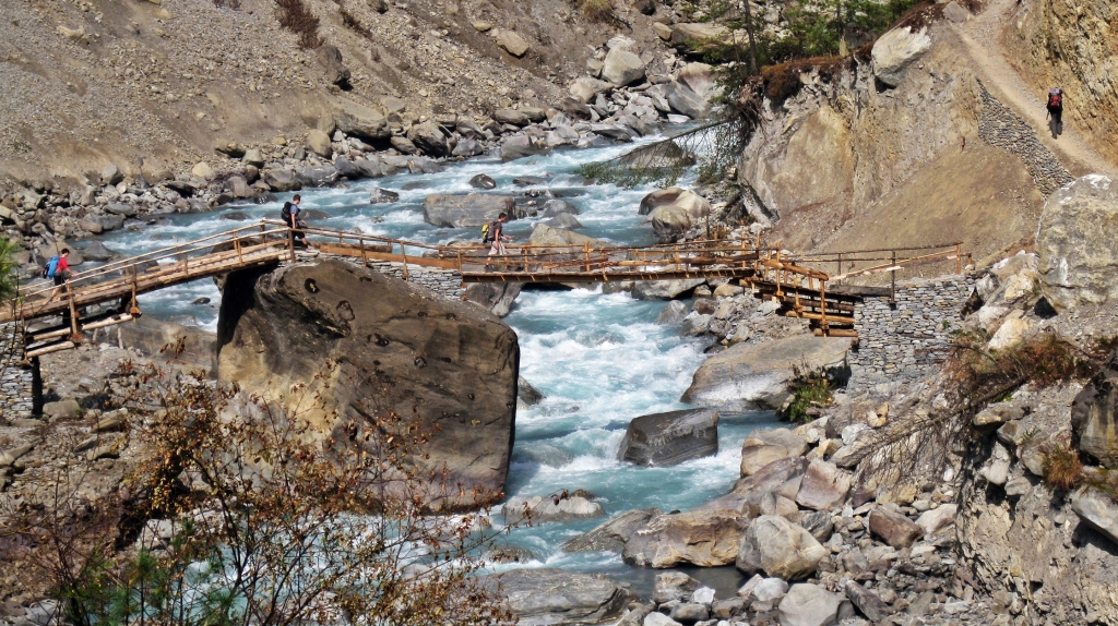 Wooden bridge over Marsyangdi River, Annapurna Circuit Trek
