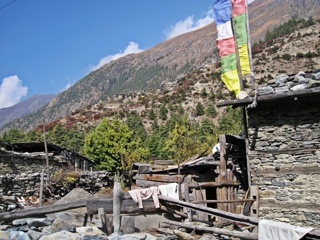 View of Upper Pisang, Annapurna Circuit Trek