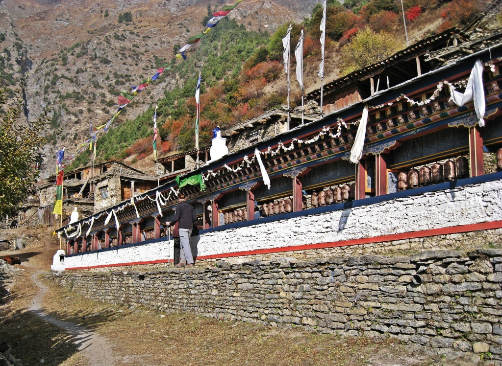 Prayer wheels, Upper Pisang, Annapurna Circuit Trek