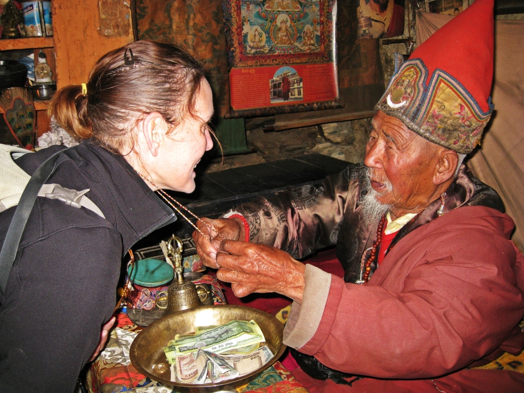 Monk, Getting a blessing, Praken Gompa, Annapurna Circuit Trek