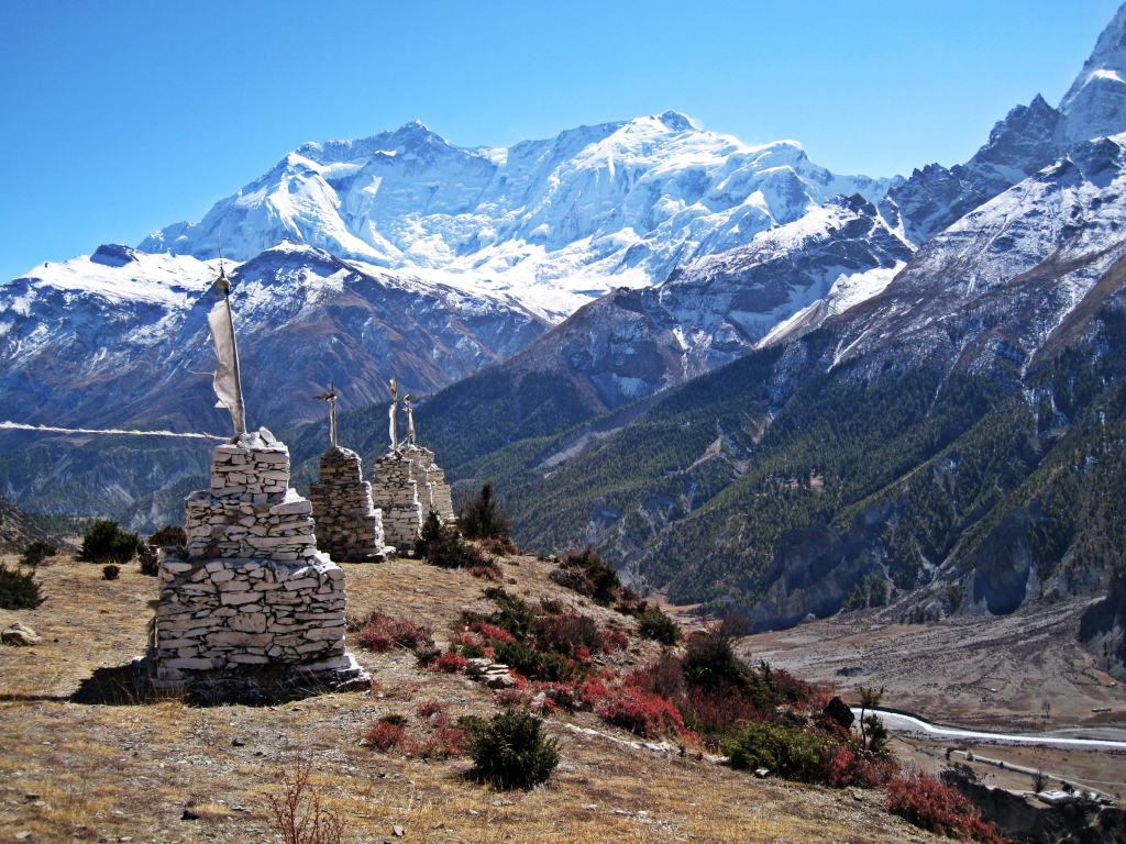 Chortens in front of Annapurna II and IV