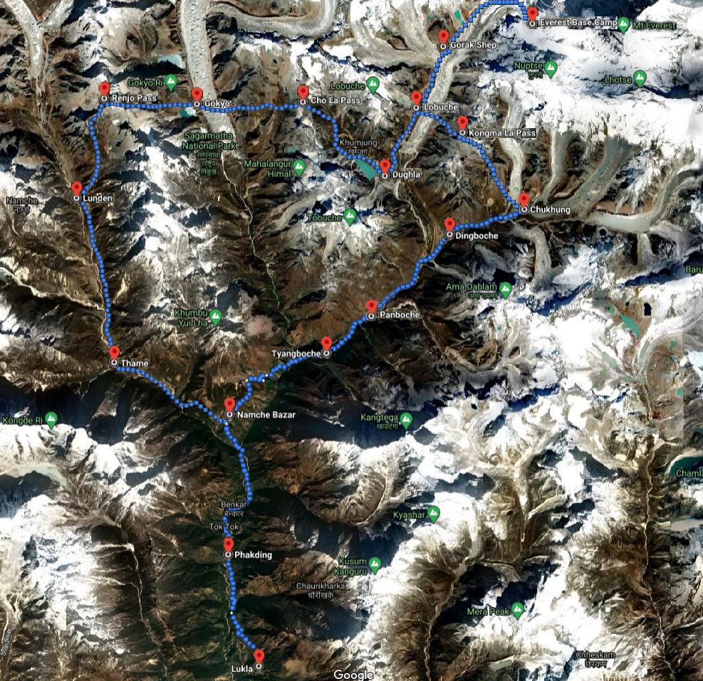 Map of Everest 3 Passes