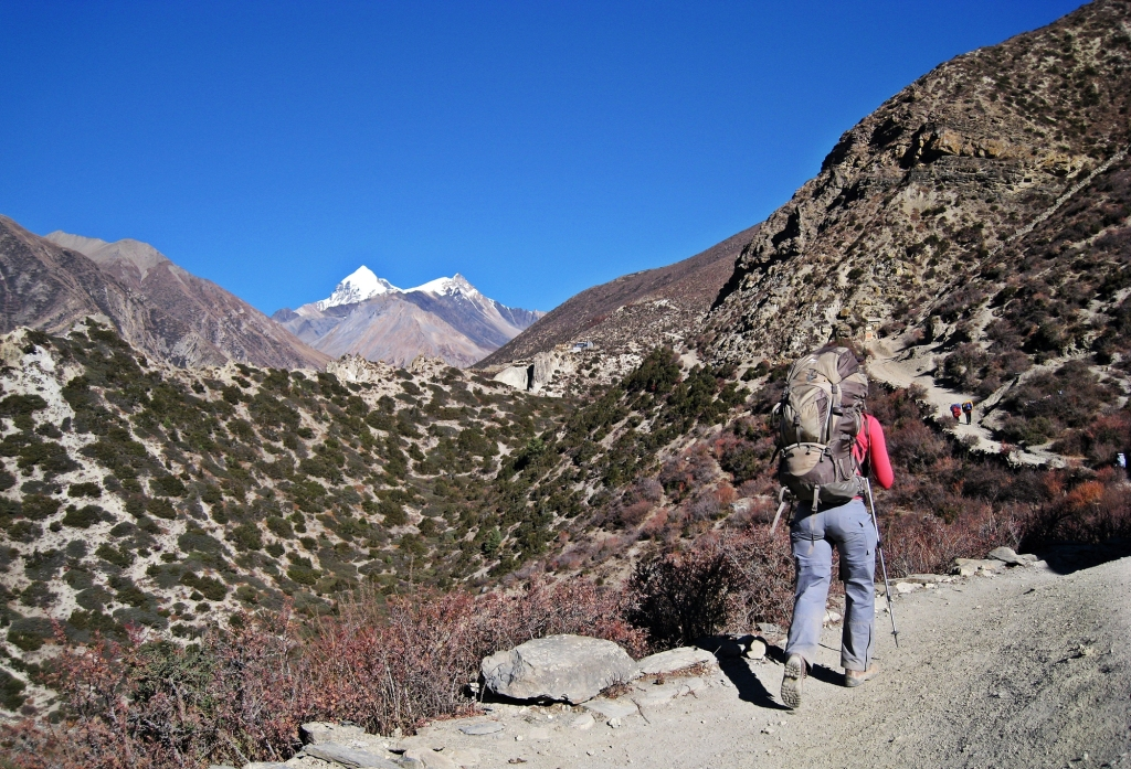 Hiking above Manang, Annapurna Circuit Trek