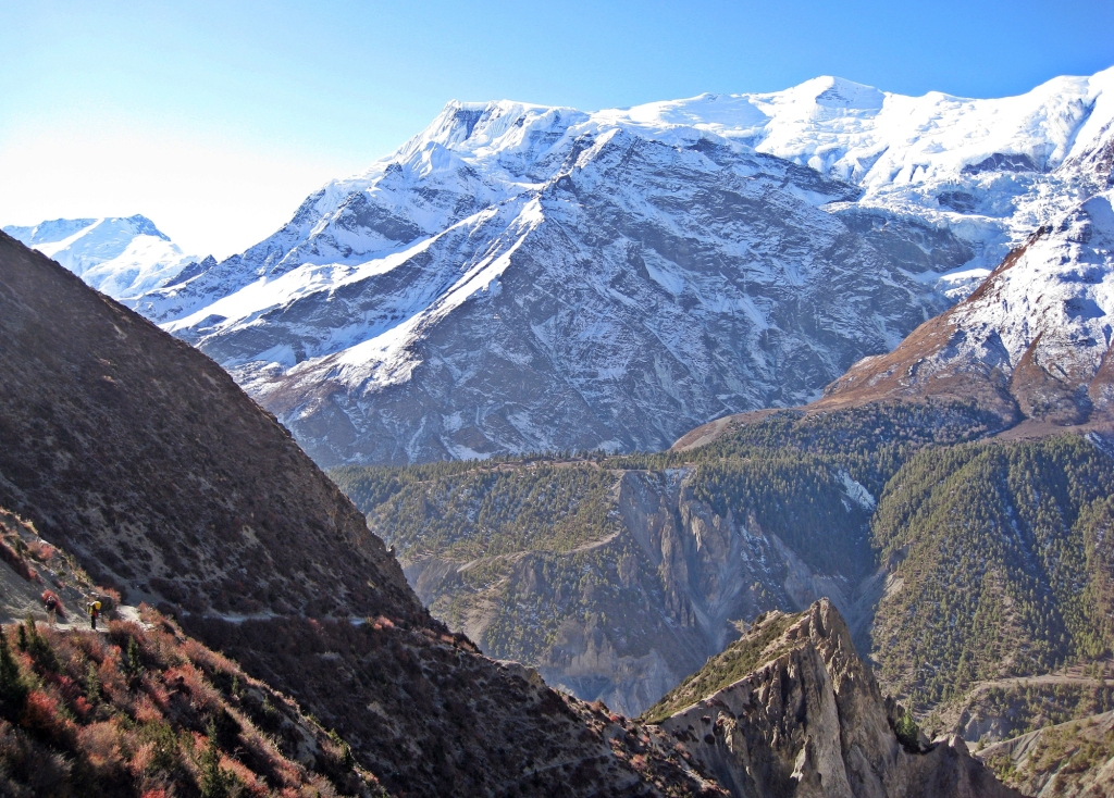 Looking back toward Manang, Annapurna Circuit Trek