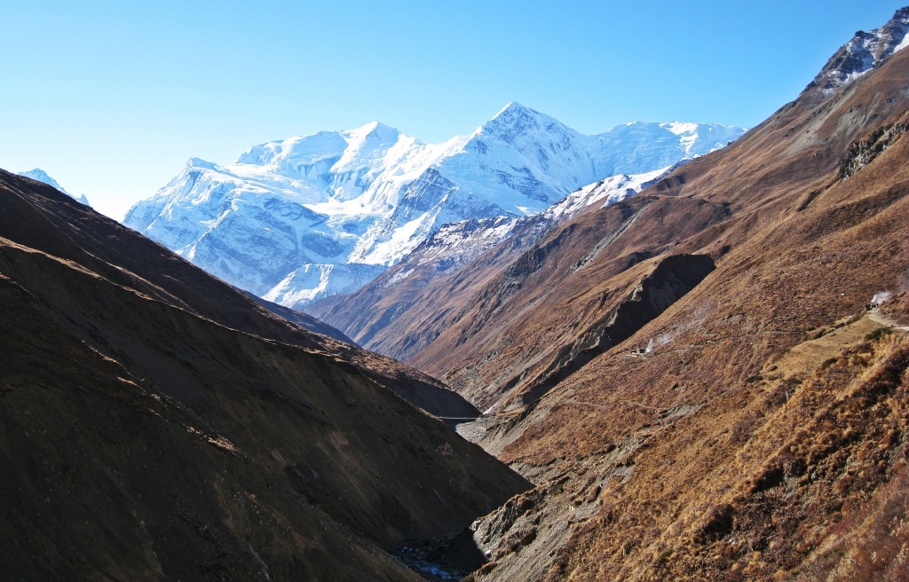Looking back to Gangapurna and Annapurna III, Annapurna Circuit Trek
