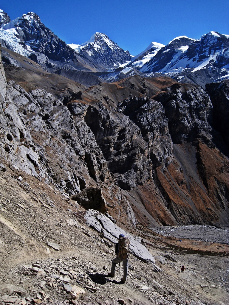 Looking back above on the trail to High Camp, Annapurna Circuit Trek