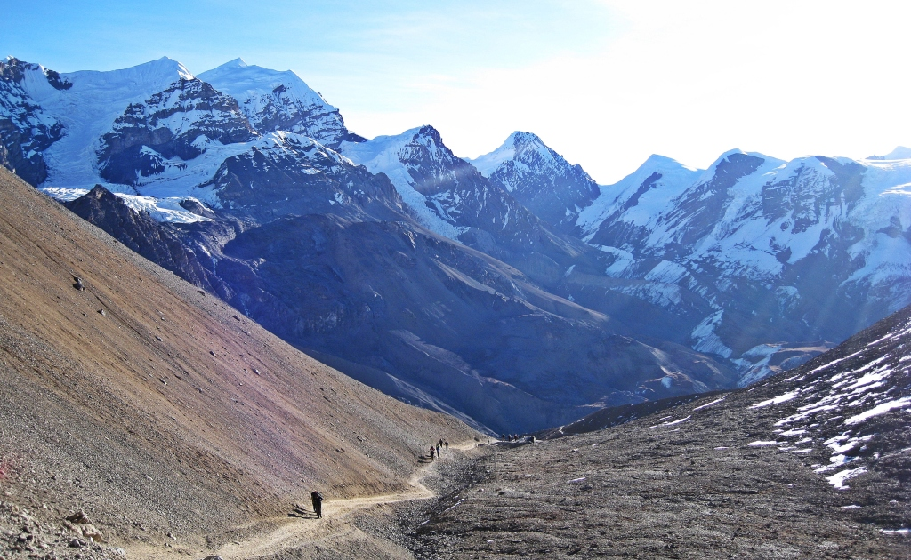 Looking back on the way to Thorong La, Annapurna Circuit Trek