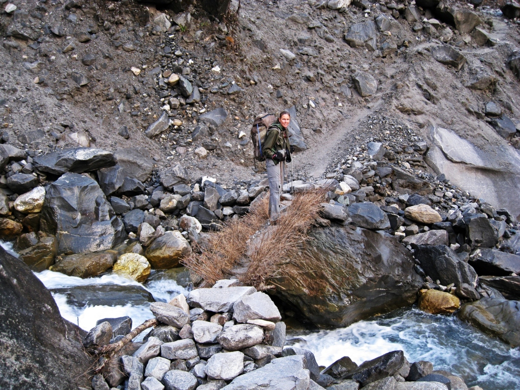 Rustic bridge, Annapurna Sanctuary Trek