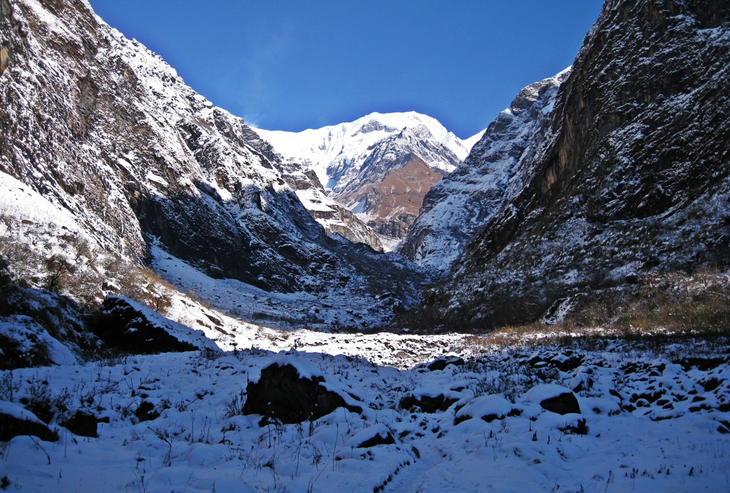 Approaching the end of Modi Khola Valley , Annapurna Sanctuary Trek