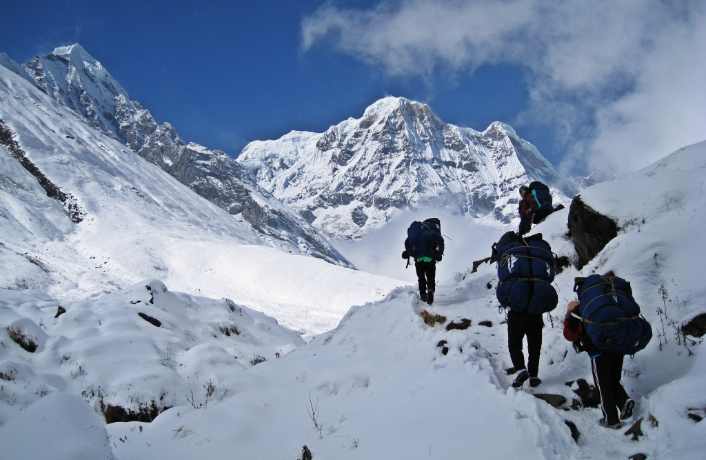 Porters in front of Annapurna