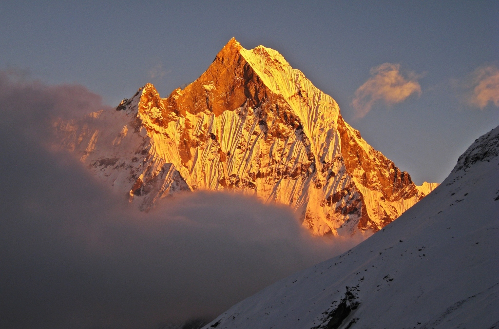 Alpenglow on Machhapuchhare, Annapurna Sanctuary