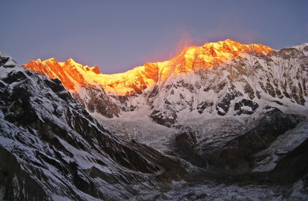 Alpenglow on Annapurna I, Annapurna Sanctuary